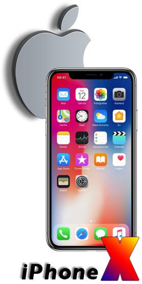 apple logosu önünde iphone X görseli ve altında iphone x yazısı