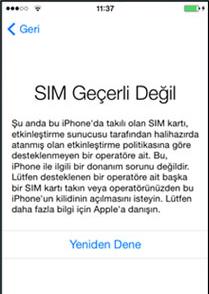 iphone SIM geçerli değil